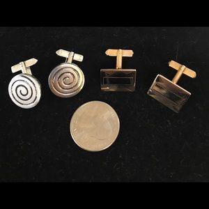 Vintage Swank Gold Silver Round Square Cuff Links
